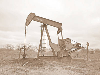 Oil Pump In Sepia Art Print