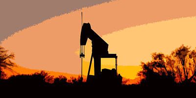 Oil Pump In Sunset Art Print