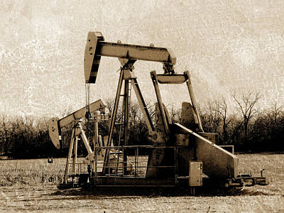 Oil Pump Jack In Sepia Art Print by Ann Powell
