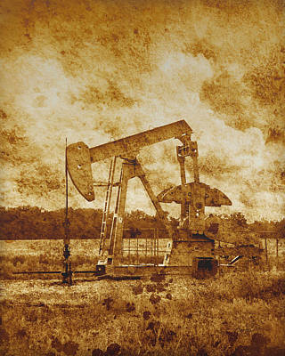 Oil Pump Jack In Sepia Two Art Print by Ann Powell