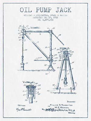 Oil Pump Jack Patent Drawing From 1916 -  Blue Ink Print by Aged Pixel