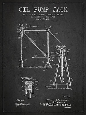 Oil Pump Jack Patent Drawing From 1916 - Dark Print by Aged Pixel