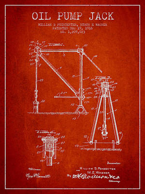 Oil Pump Jack Patent Drawing From 1916 - Red Print by Aged Pixel
