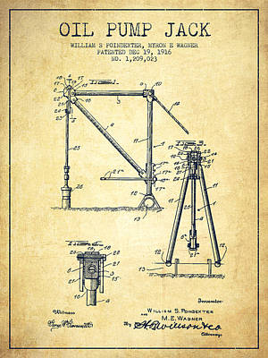 Oil Pump Jack Patent Drawing From 1916 - Vintage Art Print by Aged Pixel