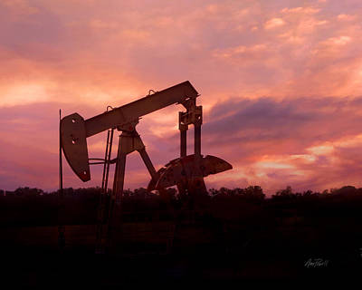 Photograph - Oil Pump Jack Sunset by Ann Powell