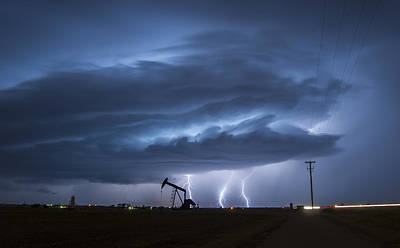 Photograph - Oil Pump Lightning  by Colt Forney