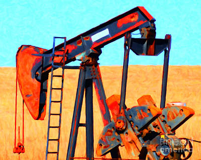 Oil Pump - Painterly Art Print by Wingsdomain Art and Photography