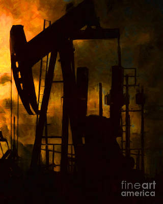 Oil Pumps - Vertical Art Print by Wingsdomain Art and Photography