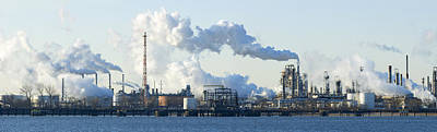 Oil Refinery At The Waterfront Art Print by Panoramic Images