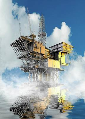 Oil Rig Photograph - Oil Rig At Sea by Victor Habbick Visions