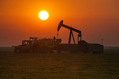 Photograph - Oil Rig Carrot Harvest Sunset by Connie Cooper-Edwards