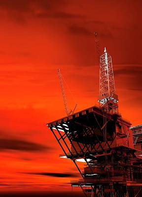 Fossil Photograph - Oil Rig by Victor Habbick Visions