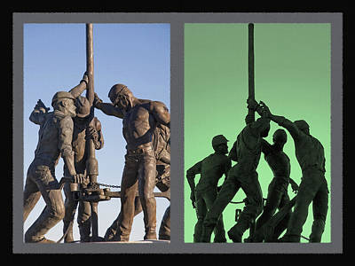 Oil Rig Workers Diptych Art Print by Steve Ohlsen