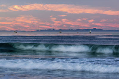 Ocean Power Photograph - Oil Rigs And Waves In The Pacific by Panoramic Images
