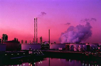 Rotterdam Photograph - Oil Storage Tanks And Refinery by David Parker/science Photo Library