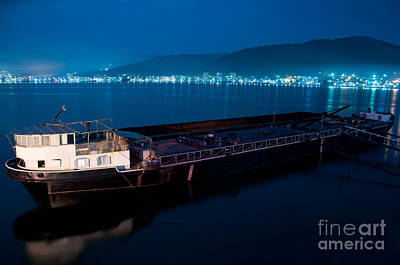Oil Tanker At Night Art Print by Ciprian Kis