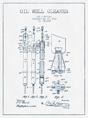 Oil Well Cleaner Patent From 1903 -  Blue Ink Print by Aged Pixel