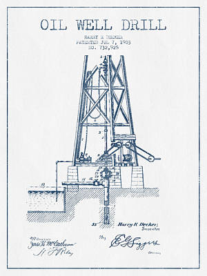 Oil Well Drill Patent From 1903 -  Blue Ink Print by Aged Pixel