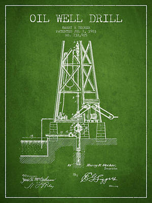 Oil Well Drill Patent From 1903 - Green Print by Aged Pixel