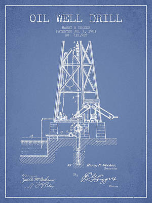 Oil Well Drill Patent From 1903 - Light Blue Print by Aged Pixel