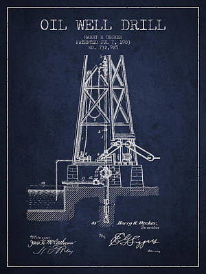 Oil Well Drill Patent From 1903 - Navy Blue Art Print by Aged Pixel