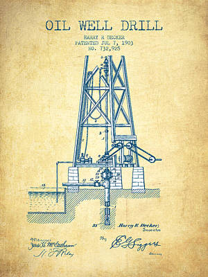 Oil Well Drill Patent From 1903 - Vintage Paper Art Print by Aged Pixel