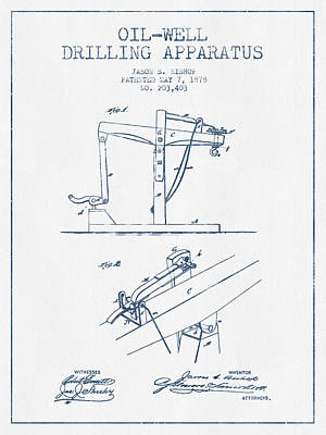Oil Well Drilling Apparatus Patent From 1878 -  Blue Ink Print by Aged Pixel