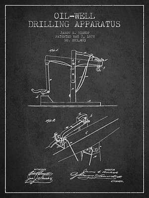 Pumpjack Drawing - Oil Well Drilling Apparatus Patent From 1878 - Dark by Aged Pixel