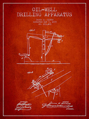 Oil Well Drilling Apparatus Patent From 1878 - Red Print by Aged Pixel