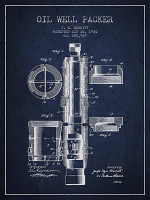 Oil Well Packer Patent From 1904 - Navy Blue Art Print