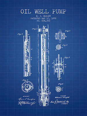 Cactus - Oil Well Pump patent from 1898 - Blueprint by Aged Pixel