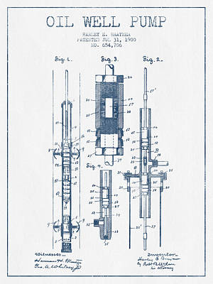 Oil Well Pump Patent From 1900 -  Blue Ink Print by Aged Pixel