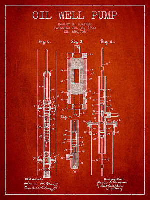 Oil Wells Drawing - Oil Well Pump Patent From 1900 - Red by Aged Pixel