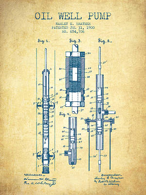 Oil Well Pump Patent From 1900 - Vintage Paper Art Print by Aged Pixel
