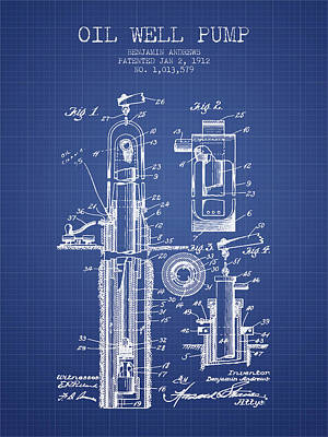 Oil Well Pump Patent From 1912 - Blueprint Print by Aged Pixel