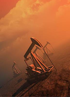 Oil Well Pumps Art Print by Victor Habbick Visions