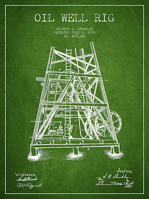 Texas A And M Digital Art - Oil Well Rig Patent From 1893 - Green by Aged Pixel