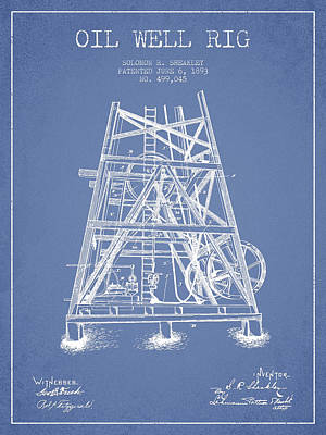 Texas A And M Digital Art - Oil Well Rig Patent From 1893 - Light Blue by Aged Pixel