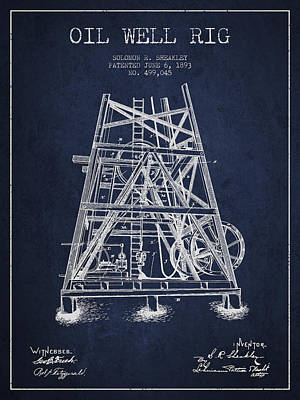 Texas A And M Digital Art - Oil Well Rig Patent From 1893 - Navy Blue by Aged Pixel