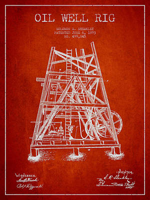 Oil Wells Drawing - Oil Well Rig Patent From 1893 - Red by Aged Pixel
