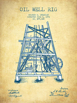 Oil Well Rig Patent From 1893 - Vintage Paper Art Print