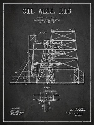 Oil Well Rig Patent From 1917- Dark Art Print by Aged Pixel