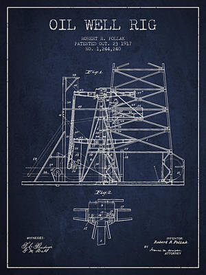 Oil Well Rig Patent From 1917- Navy Blue Art Print