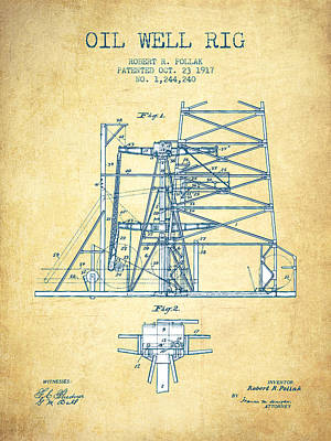 Oil Well Rig Patent From 1917- Vintage Paper Print by Aged Pixel