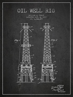 Oil Well Rig Patent From 1927 - Dark Art Print by Aged Pixel