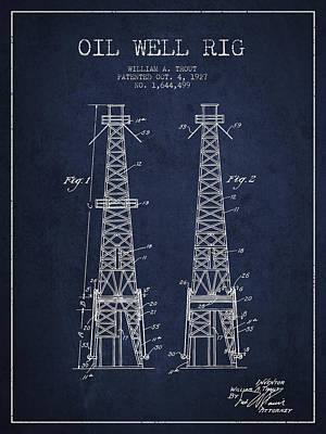 Oil Well Rig Patent From 1927 - Navy Blue Art Print by Aged Pixel