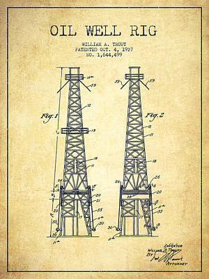 Oil Wells Drawing - Oil Well Rig Patent From 1927 - Vintage by Aged Pixel