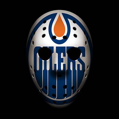 Edmonton Oilers Photograph - Oilers Goalie Mask by Joe Hamilton