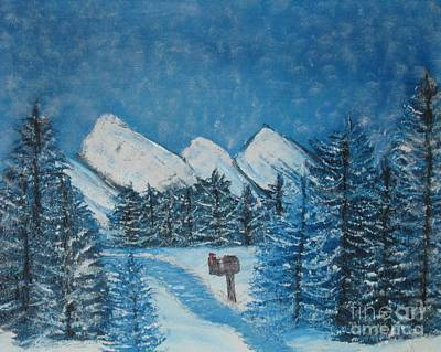 Oils On Canvas Blue Winter Print by Margaret Newcomb