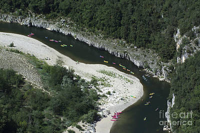 South Of France Photograph - oing down Ardeche River on canoe. Ardeche. France by Bernard Jaubert